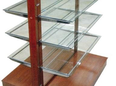 Дървена островна гондола с огледало и стъклени рафтове